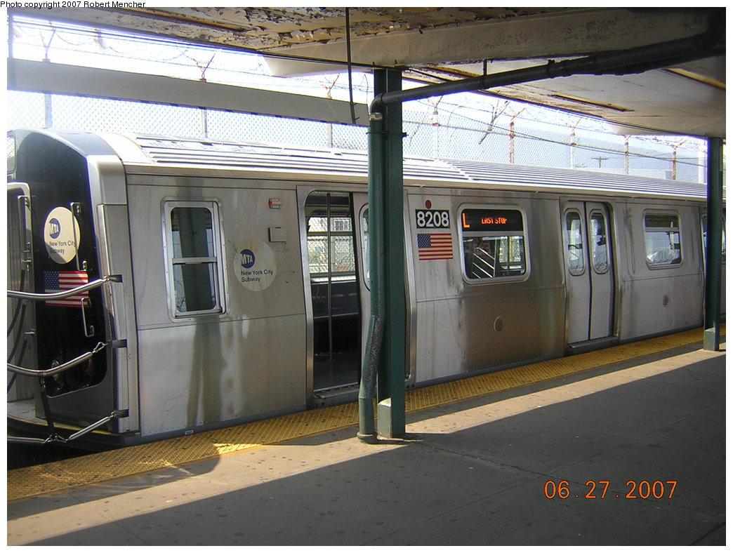 (214k, 1044x788)<br><b>Country:</b> United States<br><b>City:</b> New York<br><b>System:</b> New York City Transit<br><b>Line:</b> BMT Canarsie Line<br><b>Location:</b> Rockaway Parkway <br><b>Route:</b> L<br><b>Car:</b> R-143 (Kawasaki, 2001-2002) 8208 <br><b>Photo by:</b> Robert Mencher<br><b>Date:</b> 6/27/2007<br><b>Viewed (this week/total):</b> 6 / 3500