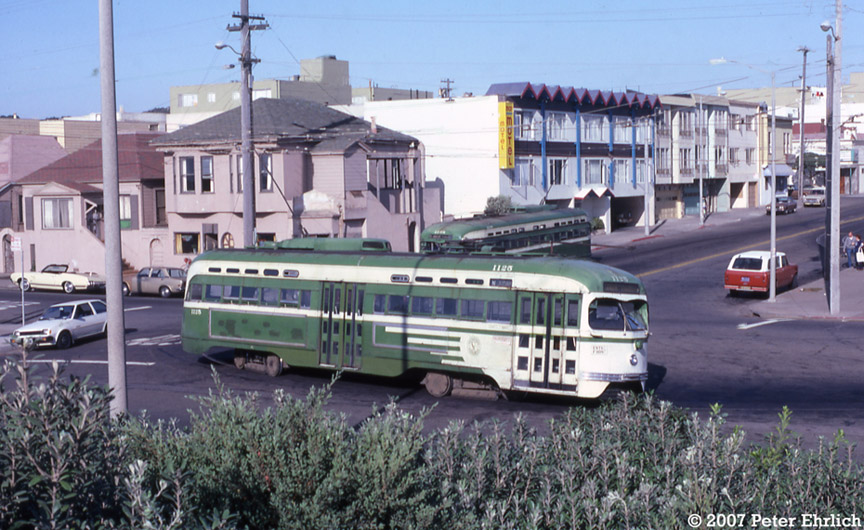 (206k, 864x530)<br><b>Country:</b> United States<br><b>City:</b> San Francisco/Bay Area, CA<br><b>System:</b> SF MUNI<br><b>Line:</b> MUNI Metro (N-Judah)<br><b>Location:</b> Ocean Beach <br><b>Car:</b> SF MUNI PCC St. Louis (St. Louis Car Co, 1946)  1125 <br><b>Photo by:</b> Peter Ehrlich<br><b>Date:</b> 9/19/1982<br><b>Notes:</b> Ocean Beach Terminal loop.  1125 and 1108 were the last two regularly-scheduled runs on the N-Judah to pull in, ending PCC service in San Francisco--until the F-Line began 13 years later.<br><b>Viewed (this week/total):</b> 2 / 1386