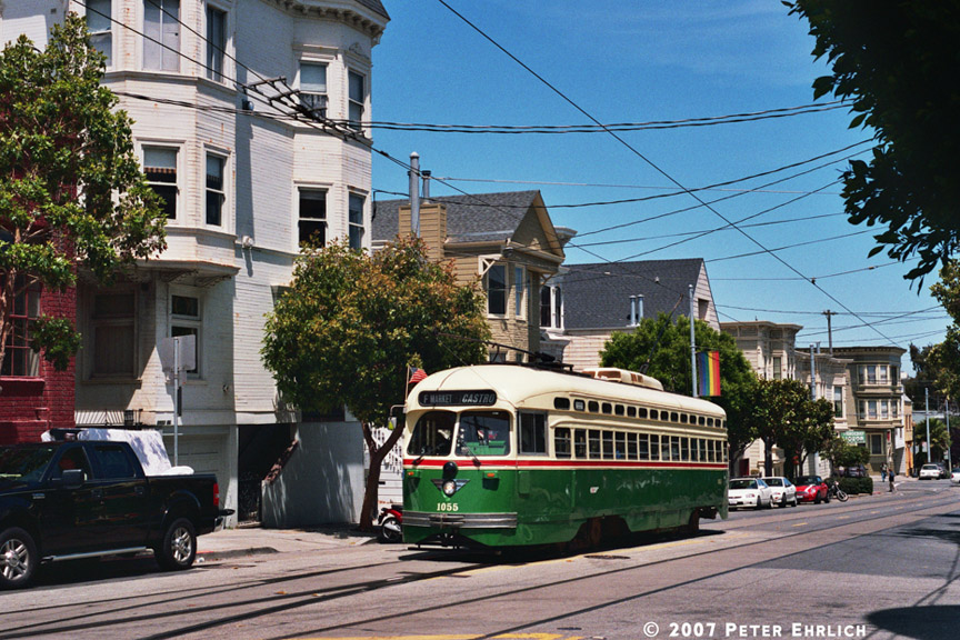 (247k, 864x576)<br><b>Country:</b> United States<br><b>City:</b> San Francisco/Bay Area, CA<br><b>System:</b> SF MUNI<br><b>Location:</b> Market/17th/Castro <br><b>Car:</b> SF MUNI PCC (Ex-SEPTA) (St. Louis Car Co., 1947-1948)  1055 <br><b>Photo by:</b> Peter Ehrlich<br><b>Date:</b> 6/30/2007<br><b>Notes:</b> 17th/Castro Terminal.<br><b>Viewed (this week/total):</b> 0 / 565