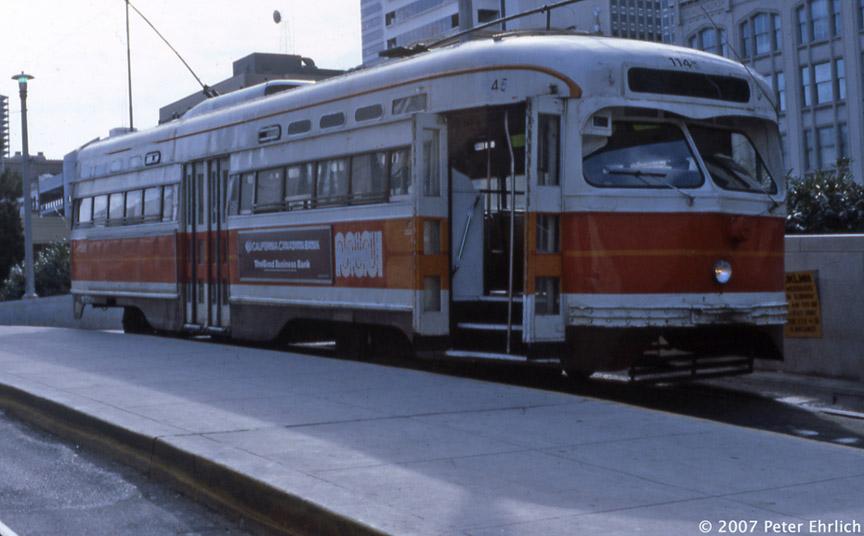 (145k, 864x536)<br><b>Country:</b> United States<br><b>City:</b> San Francisco/Bay Area, CA<br><b>System:</b> SF MUNI<br><b>Location:</b> Transbay Terminal <br><b>Car:</b> SF MUNI PCC St. Louis (St. Louis Car Co, 1946)  1145 <br><b>Photo by:</b> Peter Ehrlich<br><b>Date:</b> 8/26/1982<br><b>Notes:</b> Transbay Terminal.<br><b>Viewed (this week/total):</b> 1 / 1347