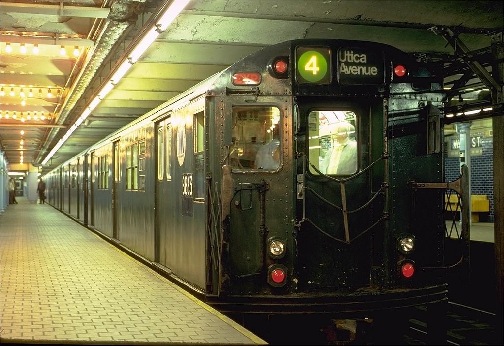 (230k, 1024x703)<br><b>Country:</b> United States<br><b>City:</b> New York<br><b>System:</b> New York City Transit<br><b>Line:</b> IRT East Side Line<br><b>Location:</b> Wall Street <br><b>Route:</b> Fan Trip<br><b>Car:</b> R-33 Main Line (St. Louis, 1962-63) 8863 <br><b>Photo by:</b> Eric Oszustowicz<br><b>Collection of:</b> Joe Testagrose<br><b>Date:</b> 5/24/1987<br><b>Viewed (this week/total):</b> 6 / 4347