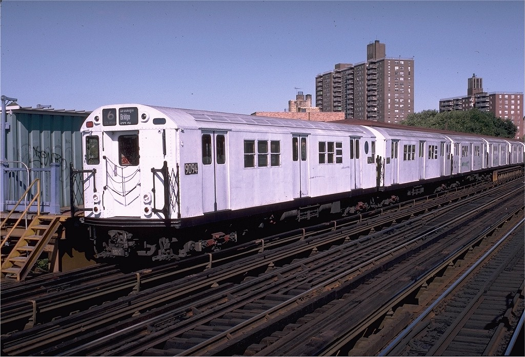 (239k, 1024x697)<br><b>Country:</b> United States<br><b>City:</b> New York<br><b>System:</b> New York City Transit<br><b>Line:</b> IRT Pelham Line<br><b>Location:</b> Middletown Road <br><b>Route:</b> 6<br><b>Car:</b> R-33 Main Line (St. Louis, 1962-63) 9094 <br><b>Photo by:</b> Doug Grotjahn<br><b>Collection of:</b> Joe Testagrose<br><b>Date:</b> 10/17/1982<br><b>Viewed (this week/total):</b> 0 / 2135