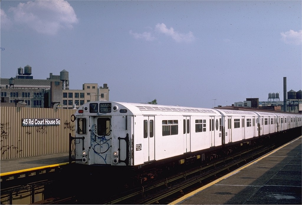 (187k, 1024x696)<br><b>Country:</b> United States<br><b>City:</b> New York<br><b>System:</b> New York City Transit<br><b>Line:</b> IRT Flushing Line<br><b>Location:</b> Court House Square/45th Road <br><b>Route:</b> 7<br><b>Car:</b> R-33 World's Fair (St. Louis, 1963-64) 9324 <br><b>Photo by:</b> Steve Zabel<br><b>Collection of:</b> Joe Testagrose<br><b>Date:</b> 6/5/1983<br><b>Viewed (this week/total):</b> 0 / 2543