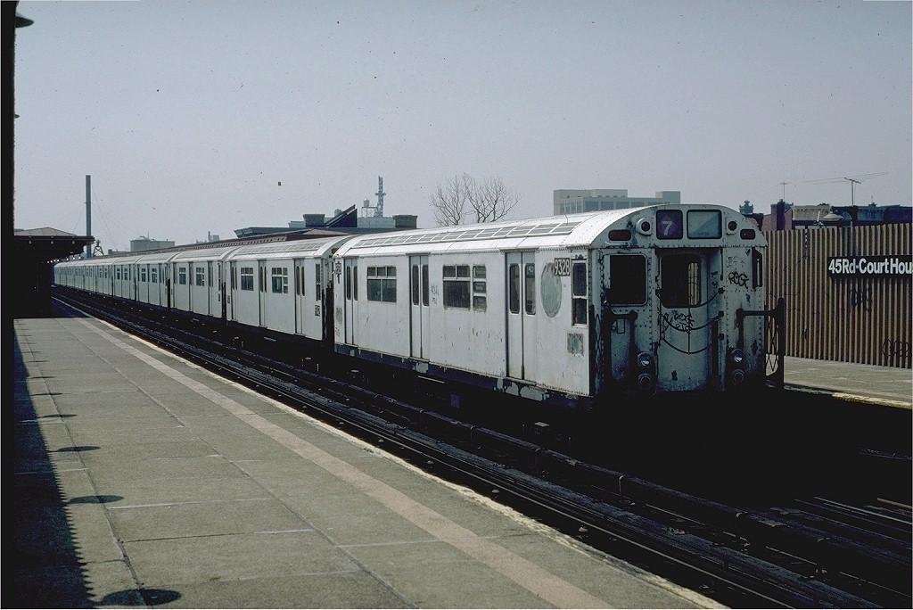 (184k, 1024x684)<br><b>Country:</b> United States<br><b>City:</b> New York<br><b>System:</b> New York City Transit<br><b>Line:</b> IRT Flushing Line<br><b>Location:</b> Court House Square/45th Road <br><b>Route:</b> 7<br><b>Car:</b> R-33 World's Fair (St. Louis, 1963-64) 9328 <br><b>Photo by:</b> Eric Oszustowicz<br><b>Collection of:</b> Joe Testagrose<br><b>Date:</b> 4/21/1985<br><b>Viewed (this week/total):</b> 0 / 3057