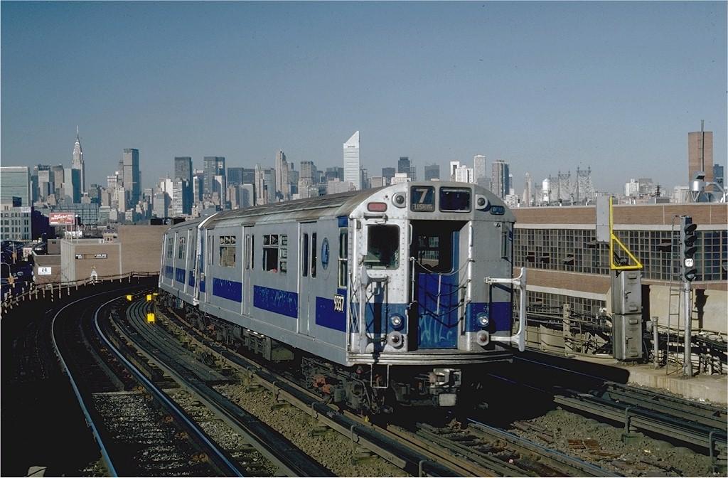 (207k, 1024x672)<br><b>Country:</b> United States<br><b>City:</b> New York<br><b>System:</b> New York City Transit<br><b>Line:</b> IRT Flushing Line<br><b>Location:</b> 33rd Street/Rawson Street <br><b>Route:</b> 7<br><b>Car:</b> R-33 World's Fair (St. Louis, 1963-64) 9337 <br><b>Photo by:</b> Steve Zabel<br><b>Collection of:</b> Joe Testagrose<br><b>Date:</b> 11/3/1981<br><b>Viewed (this week/total):</b> 0 / 2629