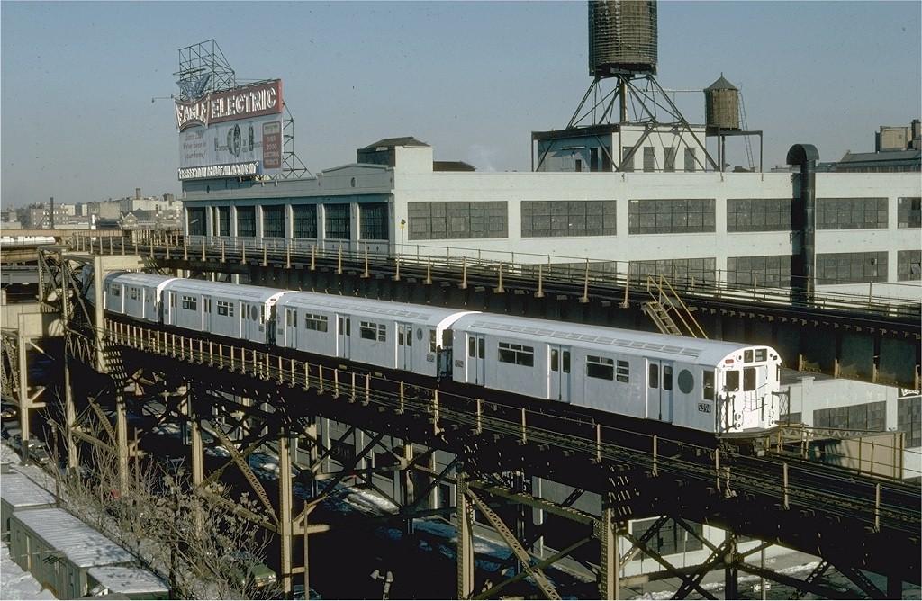 (232k, 1024x668)<br><b>Country:</b> United States<br><b>City:</b> New York<br><b>System:</b> New York City Transit<br><b>Line:</b> IRT Flushing Line<br><b>Location:</b> Queensborough Plaza <br><b>Route:</b> 7<br><b>Car:</b> R-36 World's Fair (St. Louis, 1963-64) 9394 <br><b>Photo by:</b> Steve Zabel<br><b>Collection of:</b> Joe Testagrose<br><b>Date:</b> 1/27/1982<br><b>Viewed (this week/total):</b> 4 / 3110