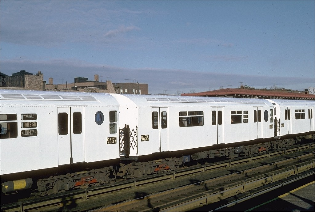 (192k, 1024x692)<br><b>Country:</b> United States<br><b>City:</b> New York<br><b>System:</b> New York City Transit<br><b>Line:</b> IRT Flushing Line<br><b>Location:</b> 82nd Street/Jackson Heights <br><b>Route:</b> 7<br><b>Car:</b> R-36 World's Fair (St. Louis, 1963-64) 9436 <br><b>Photo by:</b> Steve Zabel<br><b>Collection of:</b> Joe Testagrose<br><b>Date:</b> 12/11/1981<br><b>Viewed (this week/total):</b> 2 / 2343