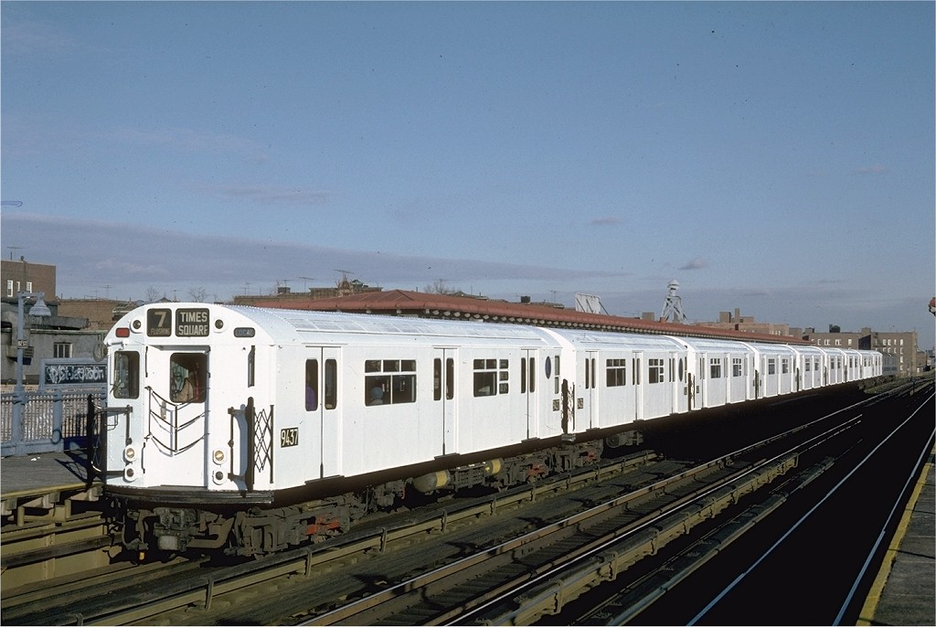 (168k, 1024x686)<br><b>Country:</b> United States<br><b>City:</b> New York<br><b>System:</b> New York City Transit<br><b>Line:</b> IRT Flushing Line<br><b>Location:</b> 82nd Street/Jackson Heights <br><b>Route:</b> 7<br><b>Car:</b> R-36 World's Fair (St. Louis, 1963-64) 9437 <br><b>Photo by:</b> Steve Zabel<br><b>Collection of:</b> Joe Testagrose<br><b>Date:</b> 12/11/1981<br><b>Viewed (this week/total):</b> 0 / 2479