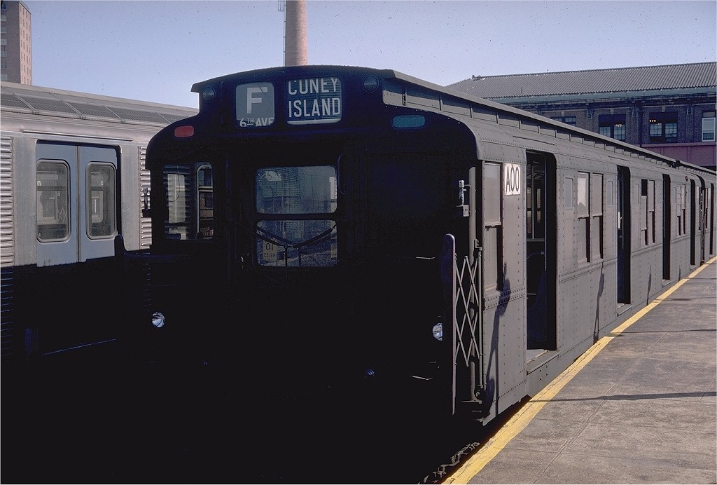 (163k, 1024x692)<br><b>Country:</b> United States<br><b>City:</b> New York<br><b>System:</b> New York City Transit<br><b>Location:</b> Coney Island/Stillwell Avenue<br><b>Route:</b> F<br><b>Car:</b> R-9 (Pressed Steel, 1940)  A00 (ex-1800)<br><b>Photo by:</b> Doug Grotjahn<br><b>Collection of:</b> Joe Testagrose<br><b>Date:</b> 9/14/1968<br><b>Viewed (this week/total):</b> 7 / 2309