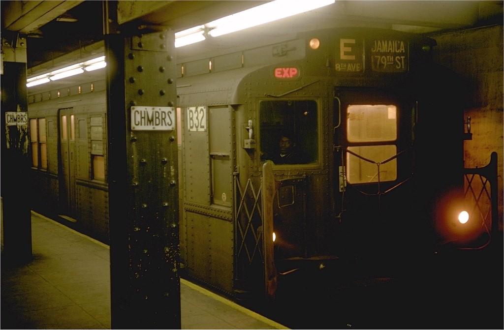 (138k, 1024x671)<br><b>Country:</b> United States<br><b>City:</b> New York<br><b>System:</b> New York City Transit<br><b>Line:</b> IND 8th Avenue Line<br><b>Location:</b> Chambers Street/World Trade Center<br><b>Route:</b> E<br><b>Car:</b> R-9 (Pressed Steel, 1940) B32 (ex-1742)<br><b>Photo by:</b> Doug Grotjahn<br><b>Collection of:</b> Joe Testagrose<br><b>Date:</b> 1/10/1969<br><b>Viewed (this week/total):</b> 1 / 5280