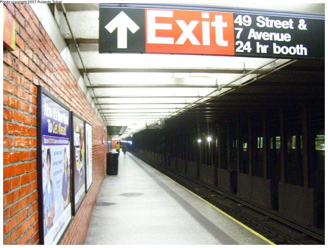 (198k, 1044x788)<br><b>Country:</b> United States<br><b>City:</b> New York<br><b>System:</b> New York City Transit<br><b>Line:</b> BMT Broadway Line<br><b>Location:</b> 49th Street <br><b>Photo by:</b> Roberto C. Tobar<br><b>Date:</b> 7/4/2007<br><b>Notes:</b> Platform view.<br><b>Viewed (this week/total):</b> 3 / 2455