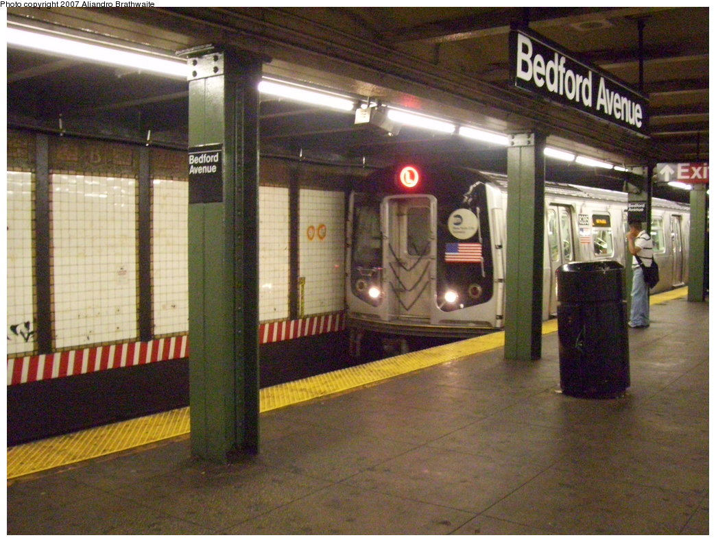 (214k, 1044x791)<br><b>Country:</b> United States<br><b>City:</b> New York<br><b>System:</b> New York City Transit<br><b>Line:</b> BMT Canarsie Line<br><b>Location:</b> Bedford Avenue <br><b>Route:</b> L<br><b>Car:</b> R-143 (Kawasaki, 2001-2002) 8285 <br><b>Photo by:</b> Aliandro Brathwaite<br><b>Date:</b> 6/27/2007<br><b>Viewed (this week/total):</b> 1 / 4134