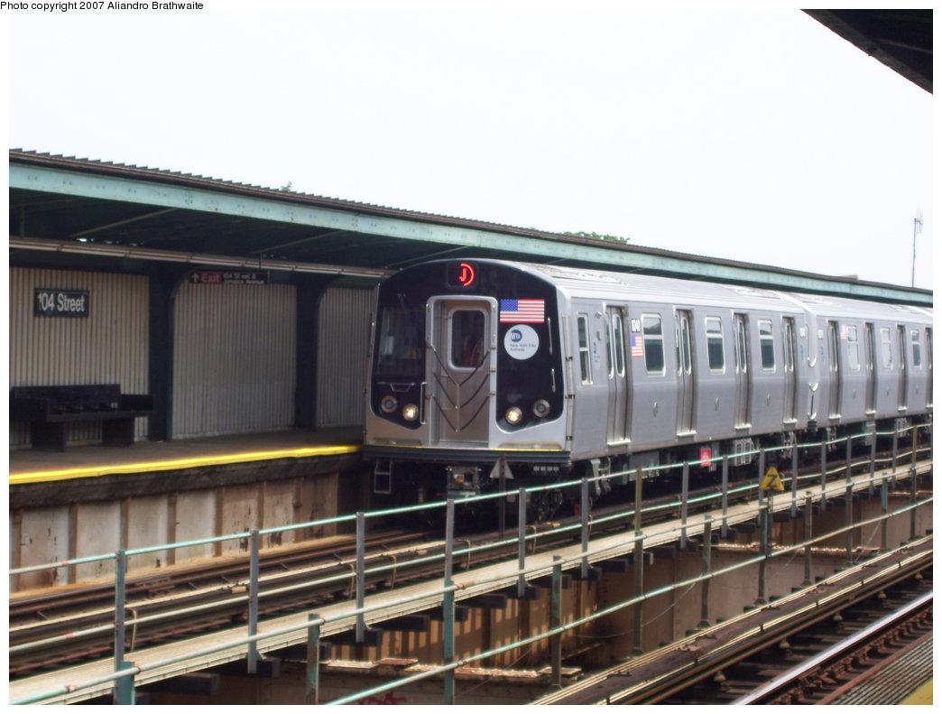 (159k, 1044x791)<br><b>Country:</b> United States<br><b>City:</b> New York<br><b>System:</b> New York City Transit<br><b>Line:</b> BMT Nassau Street/Jamaica Line<br><b>Location:</b> 102nd-104th Streets <br><b>Route:</b> J<br><b>Car:</b> R-160A-1 (Alstom, 2005-2008, 4 car sets)  8340 <br><b>Photo by:</b> Aliandro Brathwaite<br><b>Date:</b> 6/28/2007<br><b>Viewed (this week/total):</b> 2 / 4308