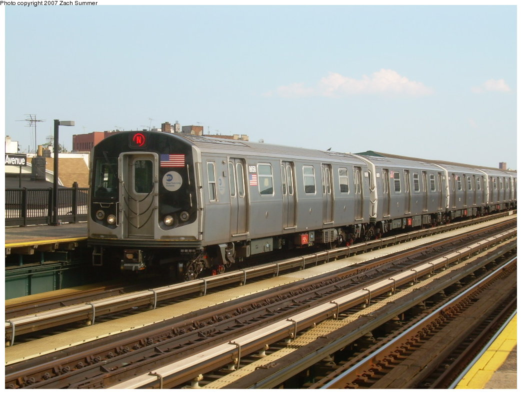 (205k, 1044x788)<br><b>Country:</b> United States<br><b>City:</b> New York<br><b>System:</b> New York City Transit<br><b>Line:</b> BMT West End Line<br><b>Location:</b> 18th Avenue <br><b>Route:</b> N<br><b>Car:</b> R-160A-2 (Alstom, 2005-2008, 5 car sets)  8658 <br><b>Photo by:</b> Zach Summer<br><b>Date:</b> 7/7/2007<br><b>Notes:</b> N reroute over West End.<br><b>Viewed (this week/total):</b> 0 / 2174