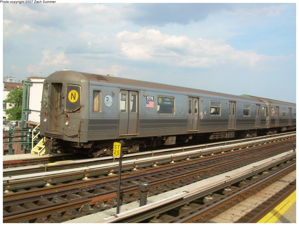 (215k, 1044x788)<br><b>Country:</b> United States<br><b>City:</b> New York<br><b>System:</b> New York City Transit<br><b>Line:</b> BMT West End Line<br><b>Location:</b> 20th Avenue <br><b>Route:</b> N<br><b>Car:</b> R-68A (Kawasaki, 1988-1989)  5178 <br><b>Photo by:</b> Zach Summer<br><b>Date:</b> 7/7/2007<br><b>Notes:</b> N reroute over West End.<br><b>Viewed (this week/total):</b> 0 / 1645