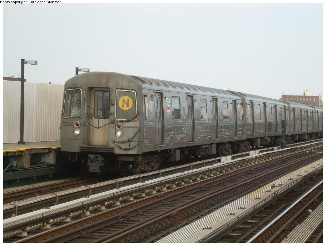 (182k, 1044x788)<br><b>Country:</b> United States<br><b>City:</b> New York<br><b>System:</b> New York City Transit<br><b>Line:</b> BMT West End Line<br><b>Location:</b> 20th Avenue <br><b>Route:</b> N<br><b>Car:</b> R-68A (Kawasaki, 1988-1989)  5004 <br><b>Photo by:</b> Zach Summer<br><b>Date:</b> 7/7/2007<br><b>Notes:</b> N reroute over West End.<br><b>Viewed (this week/total):</b> 0 / 1551