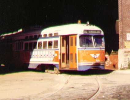(12k, 424x326)<br><b>Country:</b> United States<br><b>City:</b> Philadelphia, PA<br><b>System:</b> SEPTA (or Predecessor)<br><b>Location:</b> Woodland Depot <br><b>Car:</b> SEPTA (PTC) PCC  <br><b>Photo by:</b> Bob Wright<br><b>Date:</b> 2/1982<br><b>Viewed (this week/total):</b> 0 / 1148