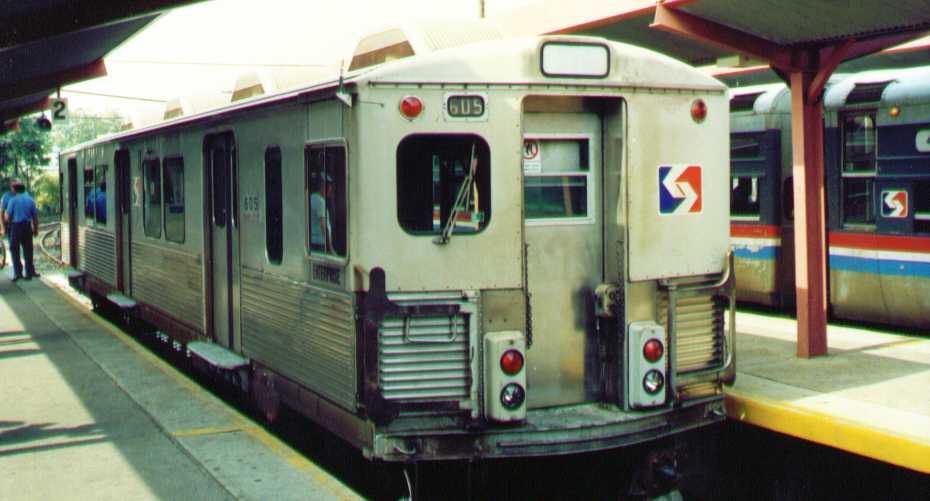 (44k, 930x501)<br><b>Country:</b> United States<br><b>City:</b> Philadelphia, PA<br><b>System:</b> SEPTA (or Predecessor)<br><b>Line:</b> 100-Norristown<br><b>Location:</b> 69th Street <br><b>Car:</b> SEPTA M-3 (Budd, 1960) 605 <br><b>Photo by:</b> Bob Wright<br><b>Date:</b> 4/1990<br><b>Viewed (this week/total):</b> 1 / 2849