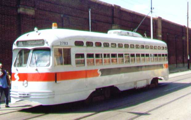 (23k, 620x391)<br><b>Country:</b> United States<br><b>City:</b> Philadelphia, PA<br><b>System:</b> SEPTA (or Predecessor)<br><b>Location:</b> Luzerne Depot <br><b>Car:</b> PTC/SEPTA Postwar All-electric PCC (St.Louis, 1947)  2783 <br><b>Photo by:</b> Bob Wright<br><b>Date:</b> 9/1991<br><b>Viewed (this week/total):</b> 3 / 1025