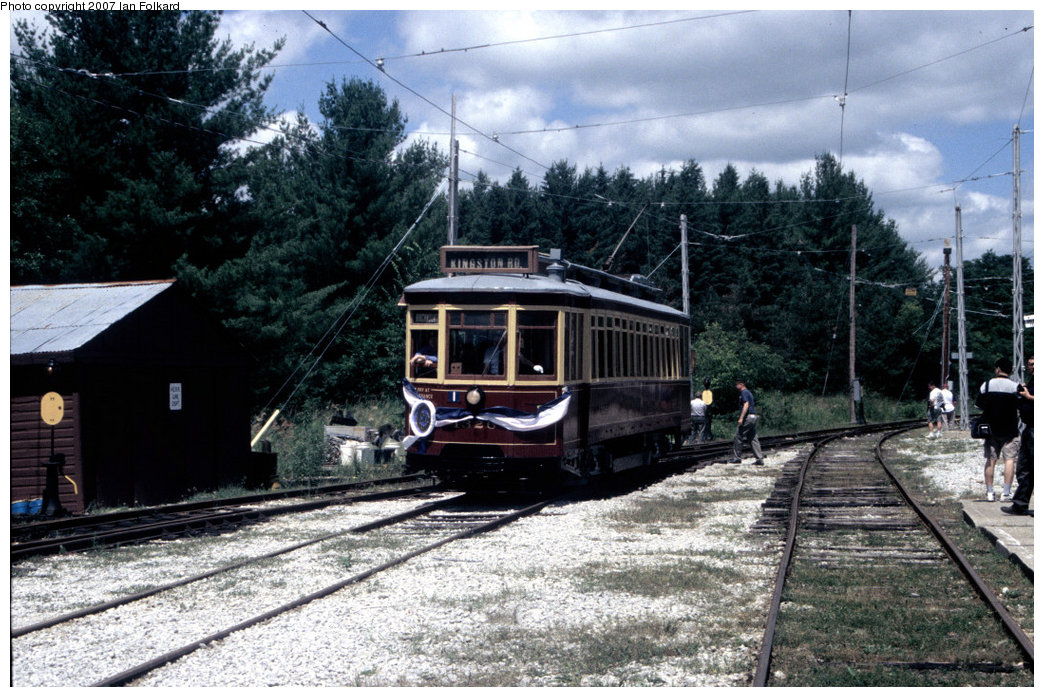 (252k, 1044x697)<br><b>Country:</b> Canada<br><b>City:</b> Toronto<br><b>System:</b> Halton County Radial Railway <br><b>Car:</b> TTC Streetcar 1326 <br><b>Photo by:</b> Ian Folkard<br><b>Date:</b> 7/10/2004<br><b>Notes:</b> Entering west end shops, running for the 50th anniversary celebrations of the museum's founding.<br><b>Viewed (this week/total):</b> 0 / 1216