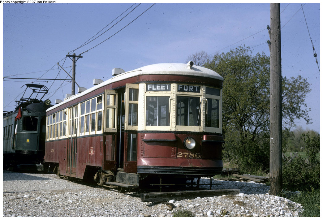 (236k, 1044x711)<br><b>Country:</b> Canada<br><b>City:</b> Toronto<br><b>System:</b> Halton County Radial Railway <br><b>Car:</b> TTC Witt 2786 <br><b>Photo by:</b> Ian Folkard<br><b>Date:</b> 2/1974<br><b>Notes:</b> Small TTC Peter Witt at the west end of the property, before the construction of the loops and the carbarns.<br><b>Viewed (this week/total):</b> 1 / 1125