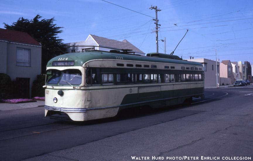 (134k, 864x552)<br><b>Country:</b> United States<br><b>City:</b> San Francisco/Bay Area, CA<br><b>System:</b> SF MUNI<br><b>Line:</b> MUNI Metro (L-Taraval)<br><b>Location:</b> 47th Ave/Vicente <br><b>Car:</b> SF MUNI PCC St. Louis (St. Louis Car Co, 1946)  1124 <br><b>Photo by:</b> Walter Hurd<br><b>Collection of:</b> Peter Ehrlich<br><b>Date:</b> 5/23/1982<br><b>Notes:</b> Vicente/47th Avenue, L-Taraval Zoo Loop.<br><b>Viewed (this week/total):</b> 1 / 1223