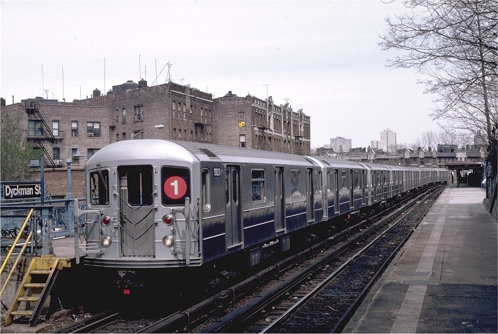 (237k, 1024x687)<br><b>Country:</b> United States<br><b>City:</b> New York<br><b>System:</b> New York City Transit<br><b>Line:</b> IRT West Side Line<br><b>Location:</b> Dyckman Street <br><b>Route:</b> 1<br><b>Car:</b> R-62A (Bombardier, 1984-1987)  1923 <br><b>Photo by:</b> Eric Oszustowicz<br><b>Collection of:</b> Joe Testagrose<br><b>Date:</b> 4/12/1987<br><b>Viewed (this week/total):</b> 0 / 3629