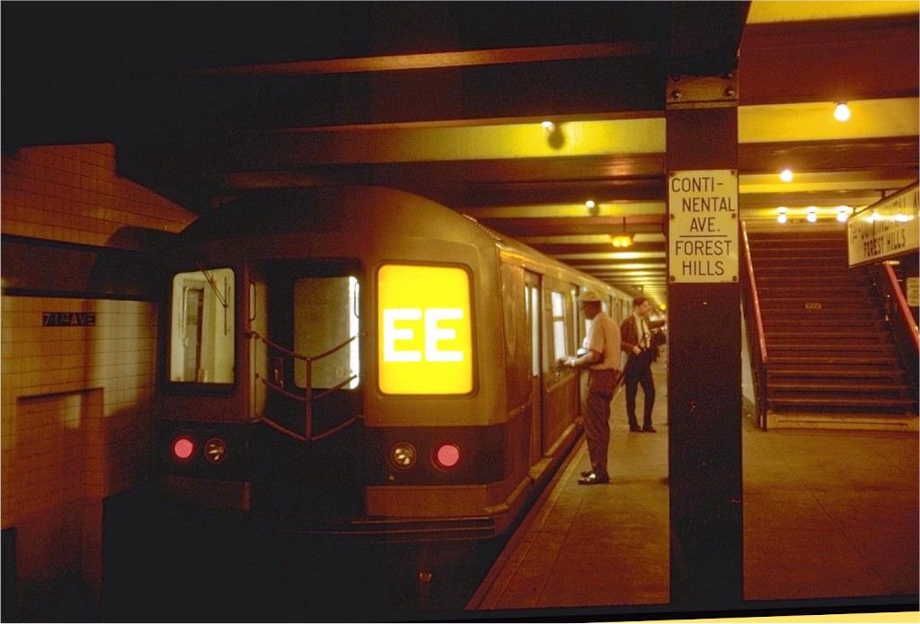 (149k, 1024x695)<br><b>Country:</b> United States<br><b>City:</b> New York<br><b>System:</b> New York City Transit<br><b>Line:</b> IND Queens Boulevard Line<br><b>Location:</b> 71st/Continental Aves./Forest Hills <br><b>Route:</b> EE<br><b>Car:</b> R-40M (St. Louis, 1969)  CB33 (ex-4331)<br><b>Photo by:</b> Doug Grotjahn<br><b>Collection of:</b> Joe Testagrose<br><b>Date:</b> 7/29/1969<br><b>Viewed (this week/total):</b> 1 / 2805