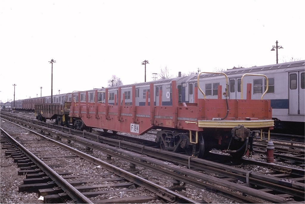 (176k, 1024x684)<br><b>Country:</b> United States<br><b>City:</b> New York<br><b>System:</b> New York City Transit<br><b>Location:</b> 36th Street Yard<br><b>Car:</b> Flat Car 184 <br><b>Photo by:</b> Steve Zabel<br><b>Collection of:</b> Joe Testagrose<br><b>Date:</b> 3/26/1974<br><b>Viewed (this week/total):</b> 0 / 1920