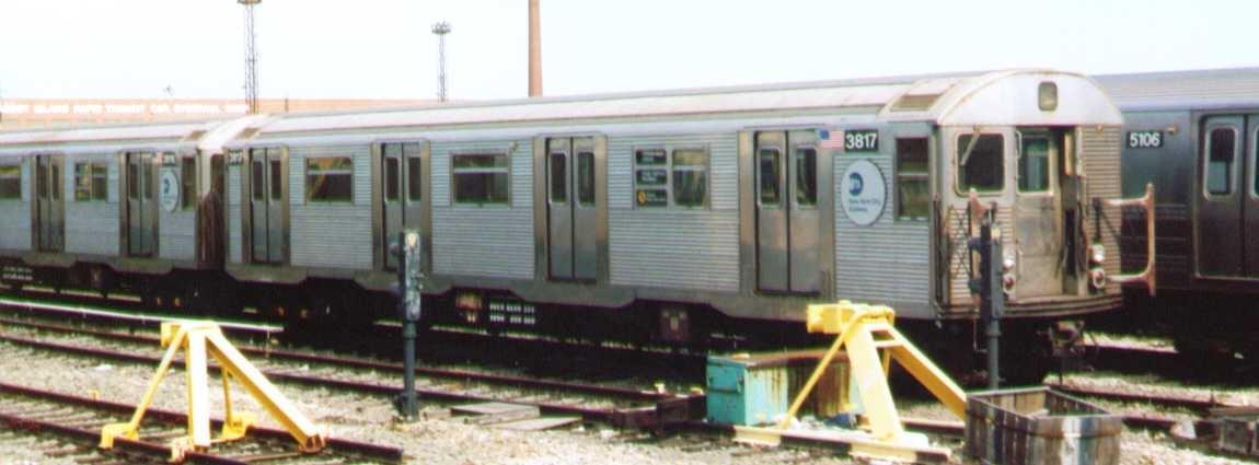 (138k, 1150x425)<br><b>Country:</b> United States<br><b>City:</b> New York<br><b>System:</b> New York City Transit<br><b>Location:</b> Coney Island Yard<br><b>Car:</b> R-32 (Budd, 1964)  3817 <br><b>Photo by:</b> Bob Wright<br><b>Date:</b> 9/22/2002<br><b>Viewed (this week/total):</b> 0 / 1425