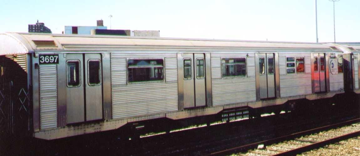 (137k, 1150x498)<br><b>Country:</b> United States<br><b>City:</b> New York<br><b>System:</b> New York City Transit<br><b>Location:</b> Coney Island Yard<br><b>Car:</b> R-32 (Budd, 1964)  3697 <br><b>Photo by:</b> Bob Wright<br><b>Date:</b> 9/22/2002<br><b>Viewed (this week/total):</b> 0 / 1616
