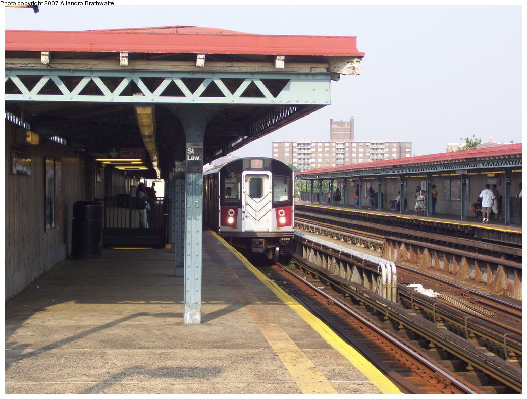 (206k, 1044x791)<br><b>Country:</b> United States<br><b>City:</b> New York<br><b>System:</b> New York City Transit<br><b>Line:</b> IRT Pelham Line<br><b>Location:</b> St. Lawrence Avenue <br><b>Route:</b> 6<br><b>Car:</b> R-142A (Primary Order, Kawasaki, 1999-2002)  7415 <br><b>Photo by:</b> Aliandro Brathwaite<br><b>Date:</b> 7/9/2007<br><b>Viewed (this week/total):</b> 1 / 2516