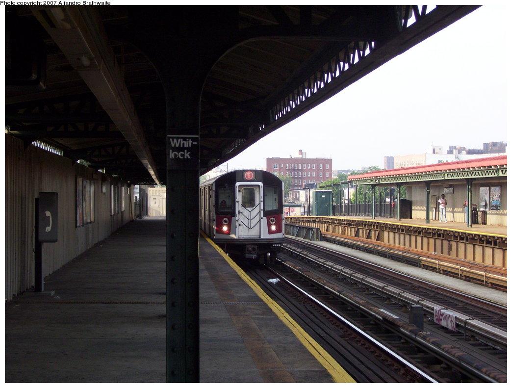 (177k, 1044x791)<br><b>Country:</b> United States<br><b>City:</b> New York<br><b>System:</b> New York City Transit<br><b>Line:</b> IRT Pelham Line<br><b>Location:</b> Whitlock Avenue <br><b>Route:</b> 6<br><b>Car:</b> R-142A (Primary Order, Kawasaki, 1999-2002)  7540 <br><b>Photo by:</b> Aliandro Brathwaite<br><b>Date:</b> 7/9/2007<br><b>Viewed (this week/total):</b> 0 / 2038