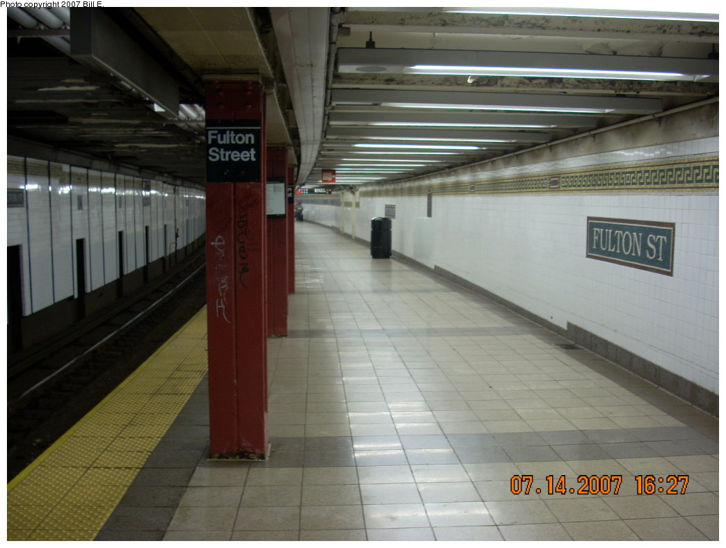 (167k, 1044x788)<br><b>Country:</b> United States<br><b>City:</b> New York<br><b>System:</b> New York City Transit<br><b>Line:</b> BMT Nassau Street/Jamaica Line<br><b>Location:</b> Fulton Street <br><b>Photo by:</b> Bill E.<br><b>Date:</b> 7/14/2007<br><b>Viewed (this week/total):</b> 2 / 2631