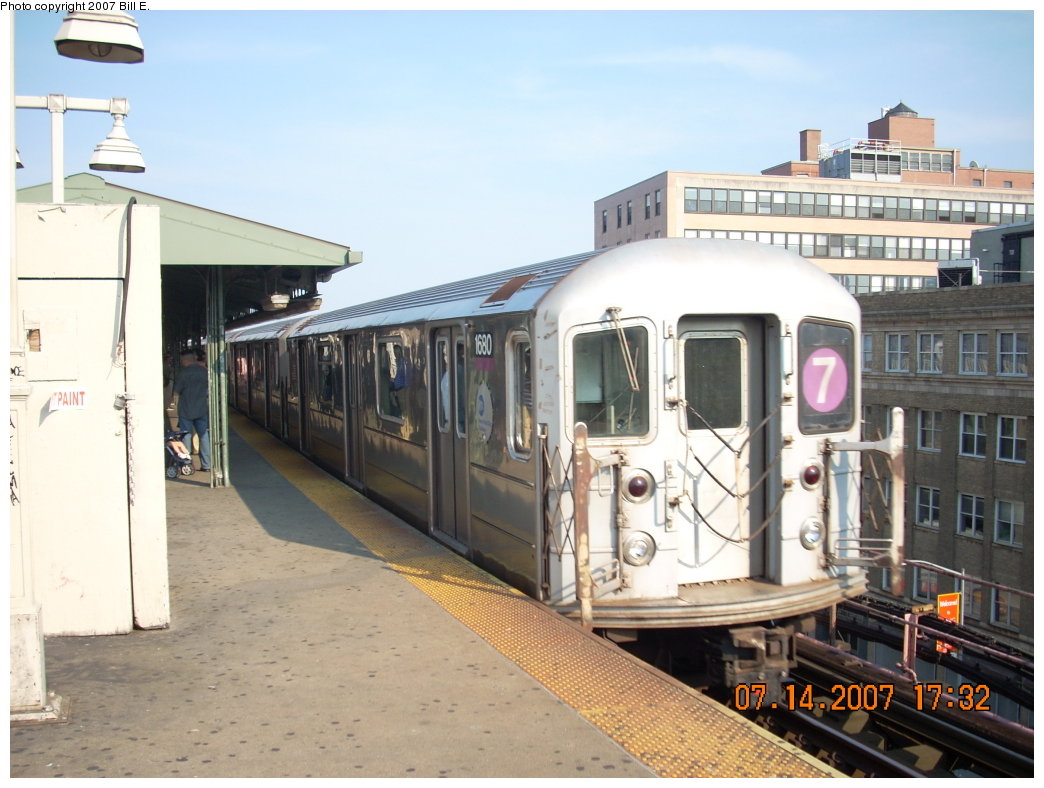 (189k, 1044x788)<br><b>Country:</b> United States<br><b>City:</b> New York<br><b>System:</b> New York City Transit<br><b>Line:</b> IRT Flushing Line<br><b>Location:</b> Queensborough Plaza <br><b>Route:</b> 7<br><b>Car:</b> R-62A (Bombardier, 1984-1987)  1680 <br><b>Photo by:</b> Bill E.<br><b>Date:</b> 7/14/2007<br><b>Viewed (this week/total):</b> 0 / 1650