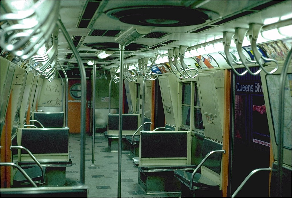 (227k, 1024x694)<br><b>Country:</b> United States<br><b>City:</b> New York<br><b>System:</b> New York City Transit<br><b>Car:</b> R-16 (American Car & Foundry, 1955) Interior <br><b>Photo by:</b> Steve Zabel<br><b>Collection of:</b> Joe Testagrose<br><b>Date:</b> 9/20/1981<br><b>Viewed (this week/total):</b> 7 / 4090