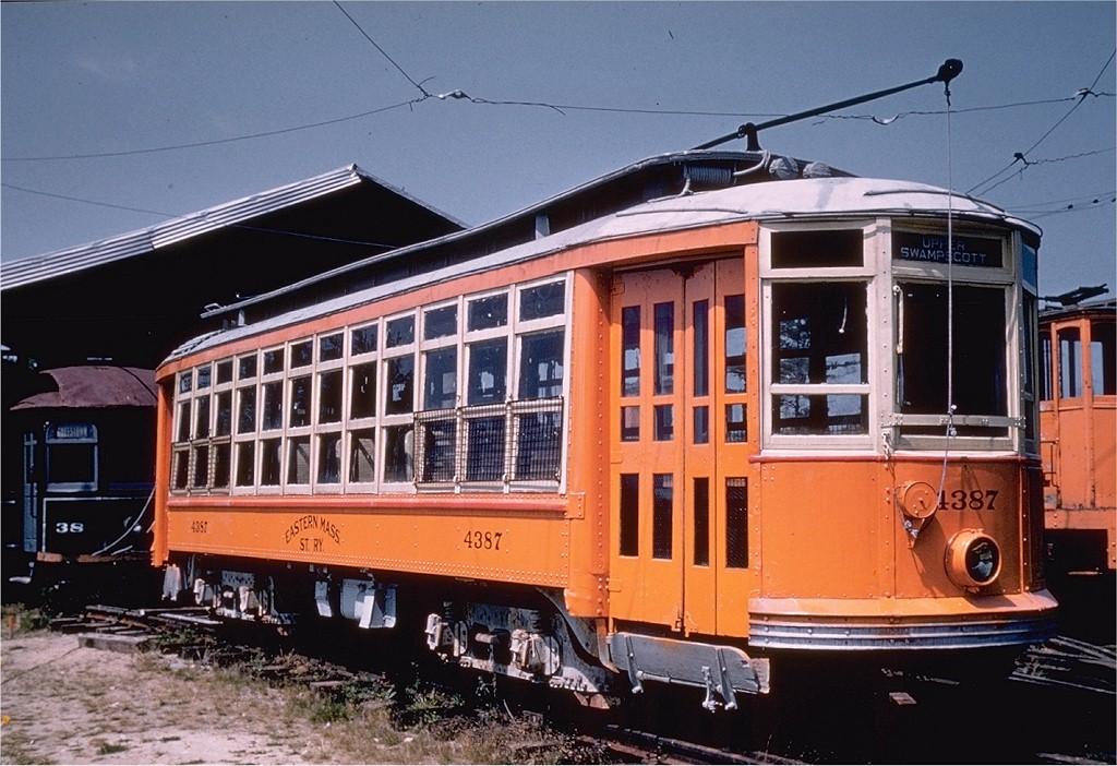 (215k, 1024x702)<br><b>Country:</b> United States<br><b>City:</b> Kennebunk, ME<br><b>System:</b> Seashore Trolley Museum <br><b>Car:</b> MBTA 4387 <br><b>Collection of:</b> Joe Testagrose<br><b>Date:</b> 8/15/1957<br><b>Viewed (this week/total):</b> 1 / 1087