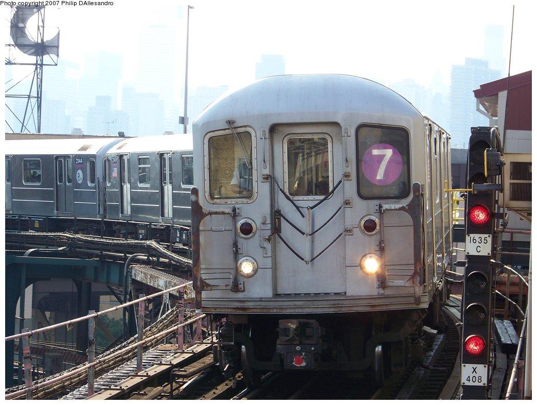 (183k, 1044x788)<br><b>Country:</b> United States<br><b>City:</b> New York<br><b>System:</b> New York City Transit<br><b>Line:</b> IRT Flushing Line<br><b>Location:</b> Queensborough Plaza <br><b>Route:</b> 7<br><b>Car:</b> R-62A (Bombardier, 1984-1987)  2150 <br><b>Photo by:</b> Philip D'Allesandro<br><b>Date:</b> 7/14/2007<br><b>Viewed (this week/total):</b> 1 / 1862