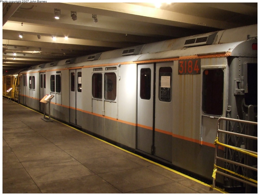 (143k, 1044x788)<br><b>Country:</b> United States<br><b>City:</b> New York<br><b>System:</b> New York City Transit<br><b>Location:</b> New York Transit Museum<br><b>Car:</b> R-10 (American Car & Foundry, 1948) 3184 <br><b>Photo by:</b> John Barnes<br><b>Date:</b> 7/19/2007<br><b>Viewed (this week/total):</b> 8 / 3273