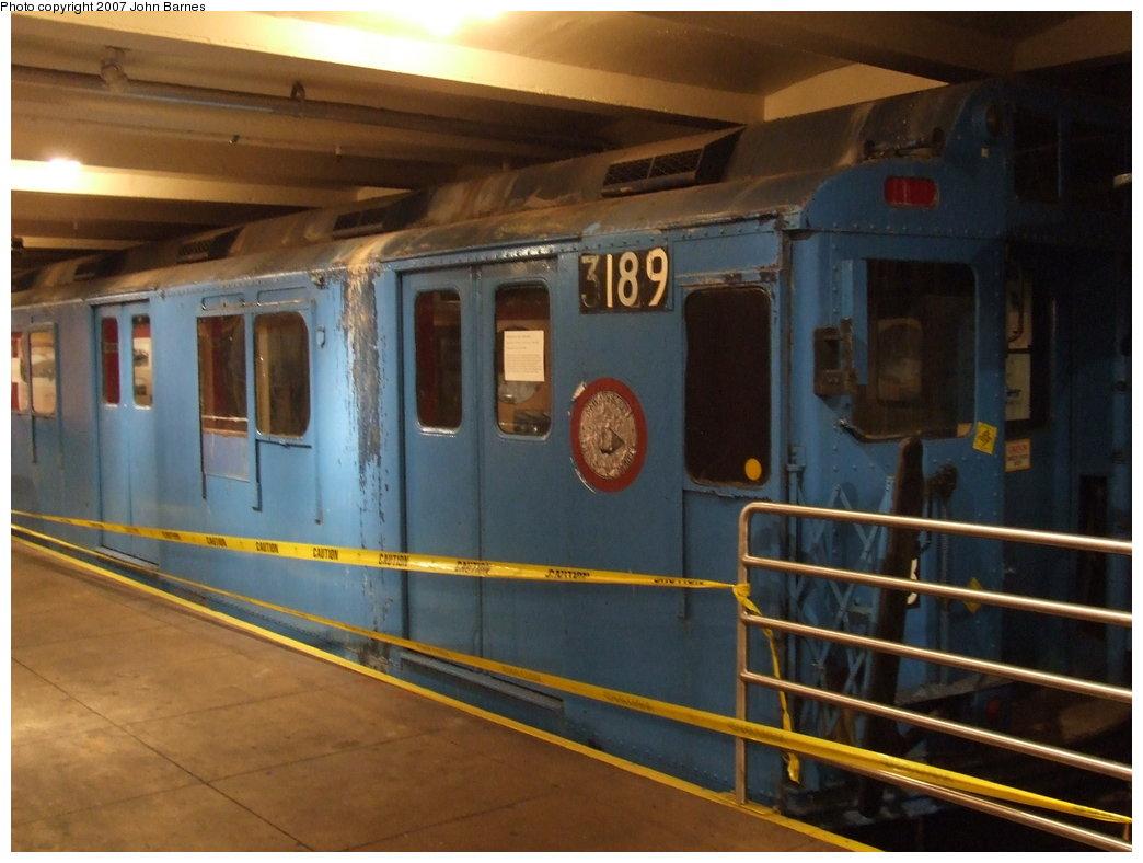 (150k, 1044x788)<br><b>Country:</b> United States<br><b>City:</b> New York<br><b>System:</b> New York City Transit<br><b>Location:</b> New York Transit Museum<br><b>Car:</b> R-10 (American Car & Foundry, 1948) 3189 <br><b>Photo by:</b> John Barnes<br><b>Date:</b> 7/19/2007<br><b>Notes:</b> This car will be restored by the museum.<br><b>Viewed (this week/total):</b> 0 / 3210