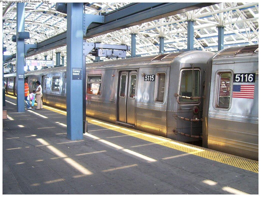 (211k, 1044x788)<br><b>Country:</b> United States<br><b>City:</b> New York<br><b>System:</b> New York City Transit<br><b>Location:</b> Coney Island/Stillwell Avenue<br><b>Route:</b> Q<br><b>Car:</b> R-68A (Kawasaki, 1988-1989)  5115 <br><b>Photo by:</b> Roberto C. Tobar<br><b>Date:</b> 7/21/2007<br><b>Viewed (this week/total):</b> 1 / 2390