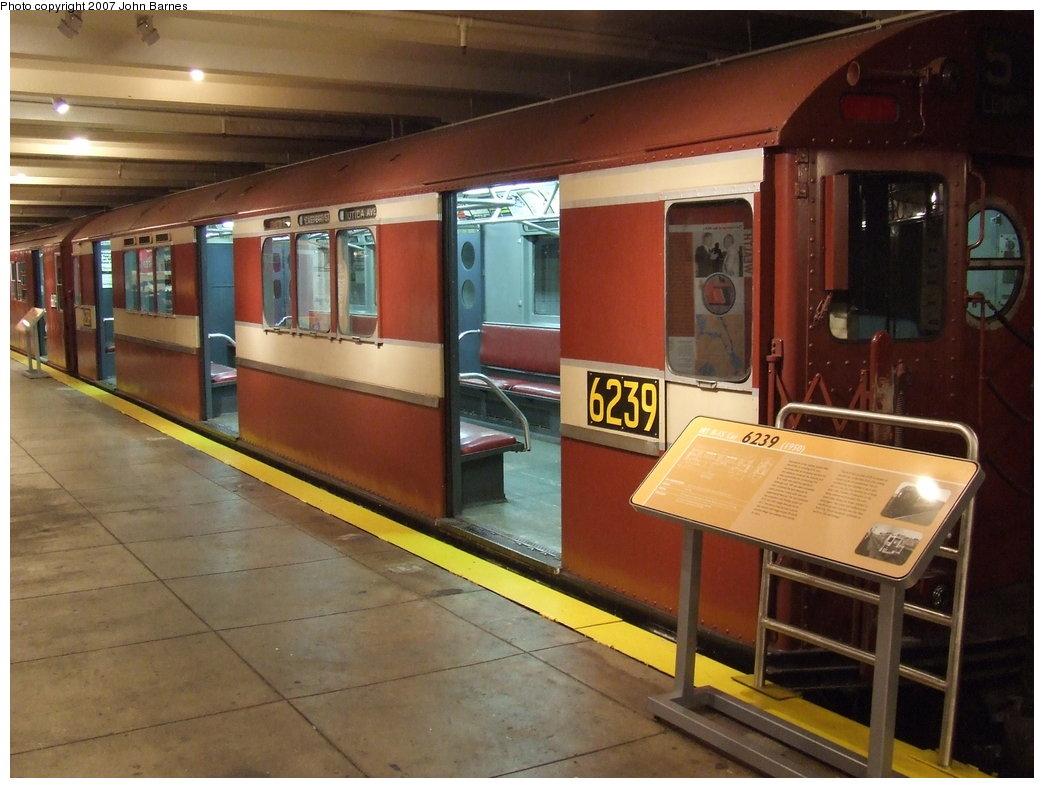 (166k, 1044x788)<br><b>Country:</b> United States<br><b>City:</b> New York<br><b>System:</b> New York City Transit<br><b>Location:</b> New York Transit Museum<br><b>Car:</b> R-15 (American Car & Foundry, 1950) 6239 <br><b>Photo by:</b> John Barnes<br><b>Date:</b> 7/19/2007<br><b>Viewed (this week/total):</b> 3 / 2172