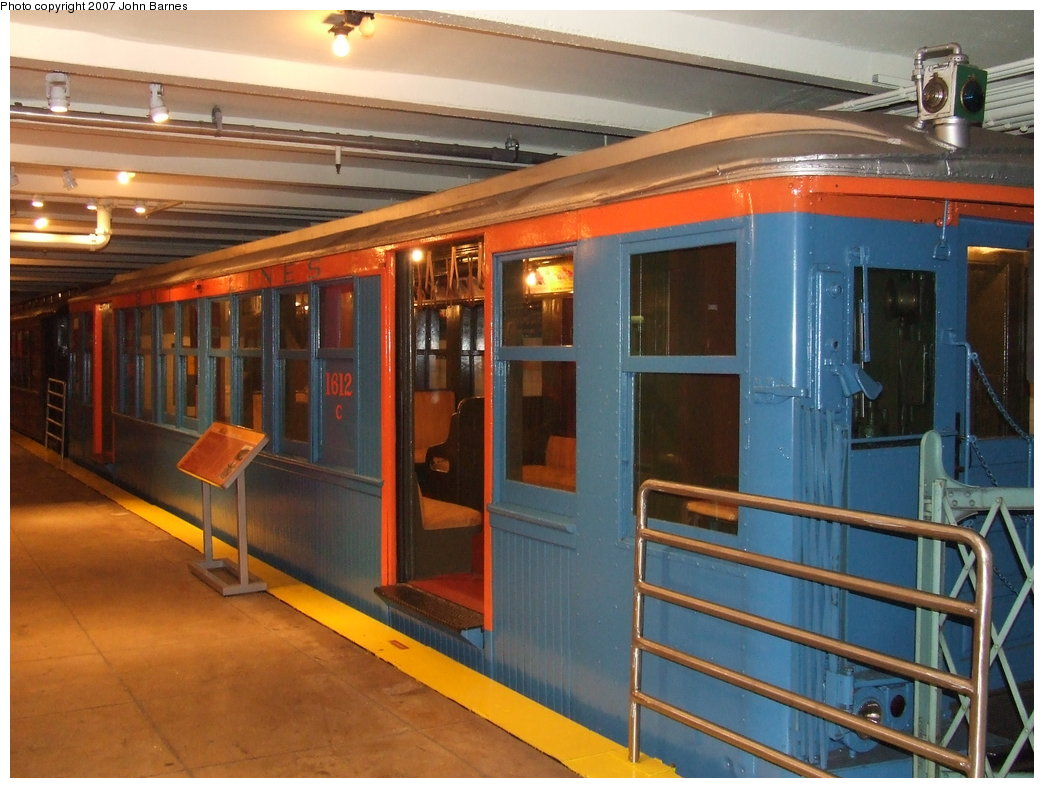 (177k, 1044x788)<br><b>Country:</b> United States<br><b>City:</b> New York<br><b>System:</b> New York City Transit<br><b>Location:</b> New York Transit Museum<br><b>Car:</b> BMT Q 1612C <br><b>Photo by:</b> John Barnes<br><b>Date:</b> 7/19/2007<br><b>Viewed (this week/total):</b> 0 / 3101