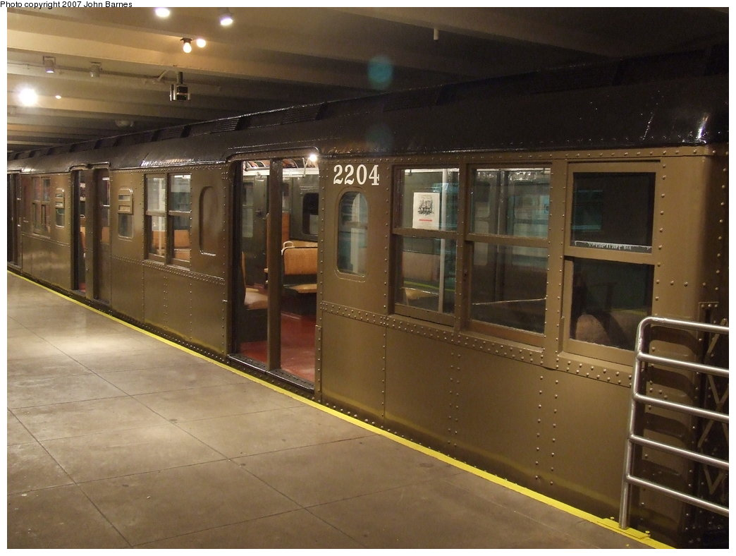 (151k, 1044x788)<br><b>Country:</b> United States<br><b>City:</b> New York<br><b>System:</b> New York City Transit<br><b>Location:</b> New York Transit Museum<br><b>Car:</b> BMT A/B-Type Standard 2204 <br><b>Photo by:</b> John Barnes<br><b>Date:</b> 7/19/2007<br><b>Viewed (this week/total):</b> 0 / 2094