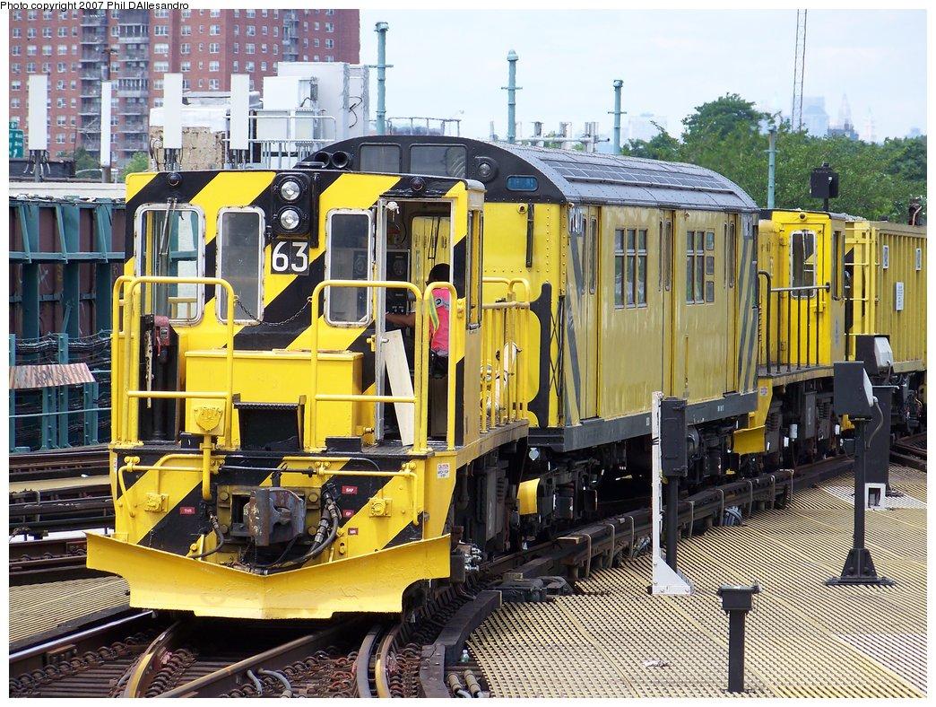 (274k, 1044x788)<br><b>Country:</b> United States<br><b>City:</b> New York<br><b>System:</b> New York City Transit<br><b>Location:</b> Coney Island/Stillwell Avenue<br><b>Route:</b> Work Service<br><b>Car:</b> R-47 Locomotive  63 <br><b>Photo by:</b> Philip D'Allesandro<br><b>Date:</b> 7/20/2007<br><b>Viewed (this week/total):</b> 0 / 1964