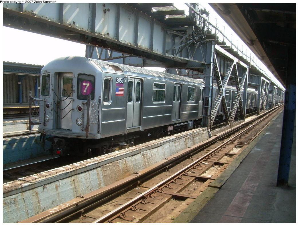 (251k, 1044x788)<br><b>Country:</b> United States<br><b>City:</b> New York<br><b>System:</b> New York City Transit<br><b>Line:</b> IRT Flushing Line<br><b>Location:</b> 111th Street <br><b>Route:</b> 7<br><b>Car:</b> R-62A (Bombardier, 1984-1987)  2059 <br><b>Photo by:</b> Zach Summer<br><b>Date:</b> 6/18/2007<br><b>Viewed (this week/total):</b> 0 / 2495
