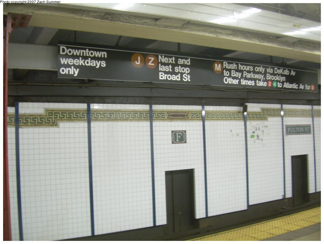 (163k, 1044x788)<br><b>Country:</b> United States<br><b>City:</b> New York<br><b>System:</b> New York City Transit<br><b>Line:</b> BMT Nassau Street/Jamaica Line<br><b>Location:</b> Fulton Street <br><b>Photo by:</b> Zach Summer<br><b>Date:</b> 7/18/2007<br><b>Viewed (this week/total):</b> 0 / 3817