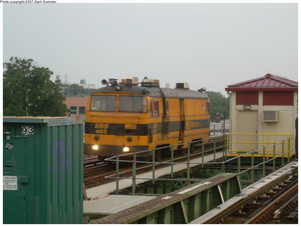 (171k, 1044x788)<br><b>Country:</b> United States<br><b>City:</b> New York<br><b>System:</b> New York City Transit<br><b>Line:</b> BMT Culver Line<br><b>Location:</b> 18th Avenue <br><b>Route:</b> Work Service<br><b>Car:</b> Sperry Rail Service  403 <br><b>Photo by:</b> Zach Summer<br><b>Date:</b> 7/18/2007<br><b>Viewed (this week/total):</b> 1 / 1911
