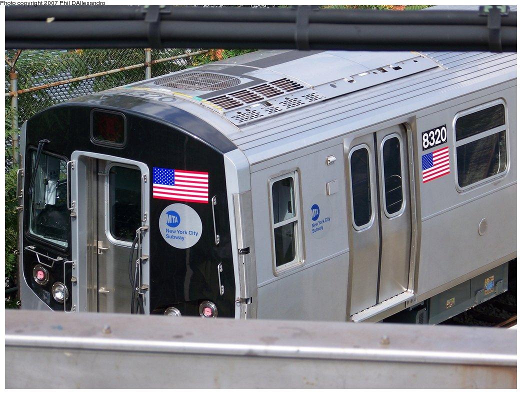 (183k, 1044x788)<br><b>Country:</b> United States<br><b>City:</b> New York<br><b>System:</b> New York City Transit<br><b>Location:</b> East New York Yard/Shops<br><b>Car:</b> R-160A-1 (Alstom, 2005-2008, 4 car sets)  8320 <br><b>Photo by:</b> Philip D'Allesandro<br><b>Date:</b> 7/20/2007<br><b>Viewed (this week/total):</b> 0 / 1779