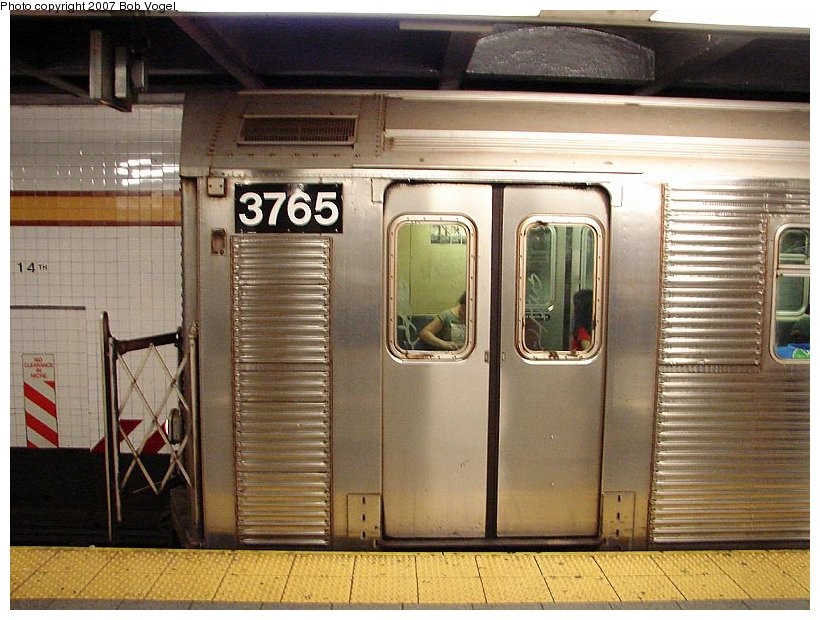(121k, 820x620)<br><b>Country:</b> United States<br><b>City:</b> New York<br><b>System:</b> New York City Transit<br><b>Line:</b> IND 8th Avenue Line<br><b>Location:</b> 14th Street <br><b>Route:</b> A<br><b>Car:</b> R-32 (Budd, 1964)  3765 <br><b>Photo by:</b> Bob Vogel<br><b>Date:</b> 7/22/2007<br><b>Viewed (this week/total):</b> 2 / 2779